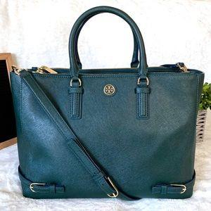 Tory Burch Bags - Tory Burch Robinson Green Multi Satchel Tote Bag